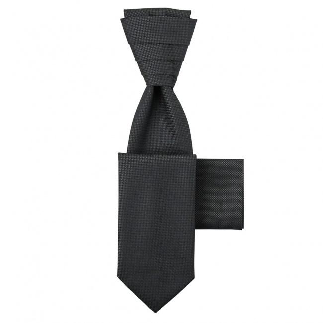 Tmavě šedá kravata s kapesníčkem - Regata s jemným mřížkováním