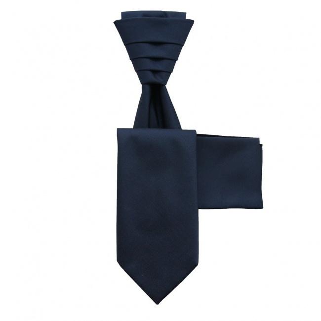 Tmavě modrá svatební kravata s kapesníčkem - Regata