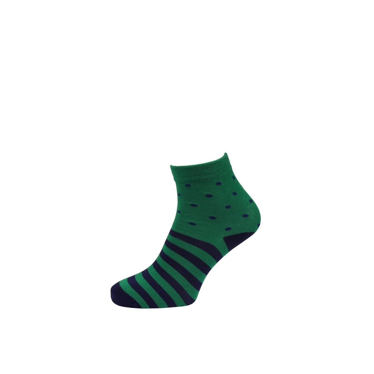 Zelené pánské ponožky s modrými pruhy a puntíky