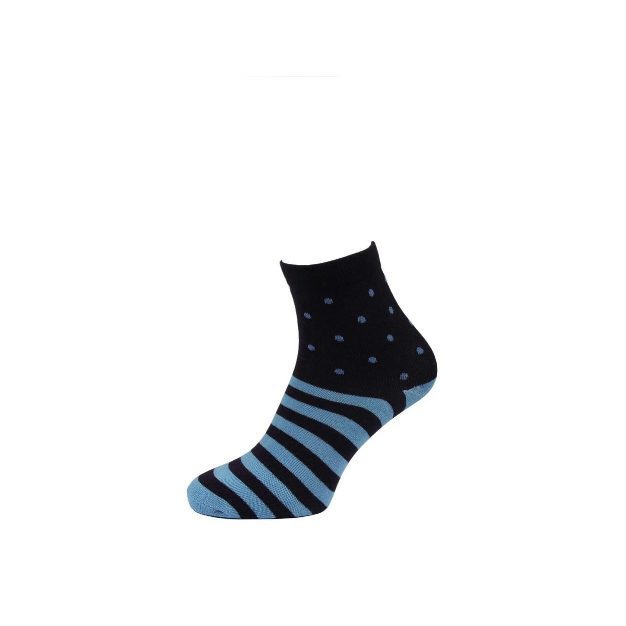 Tmavě modré pánské ponožky s modrými pruhy a puntíky