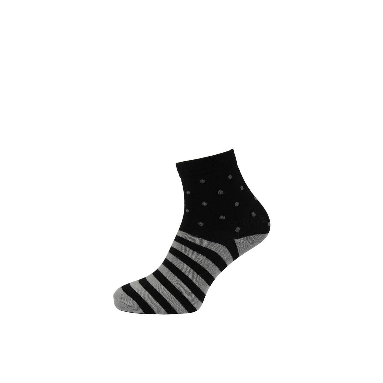 Černé pánské ponožky s šedými pruhy a puntíky  bde9402592