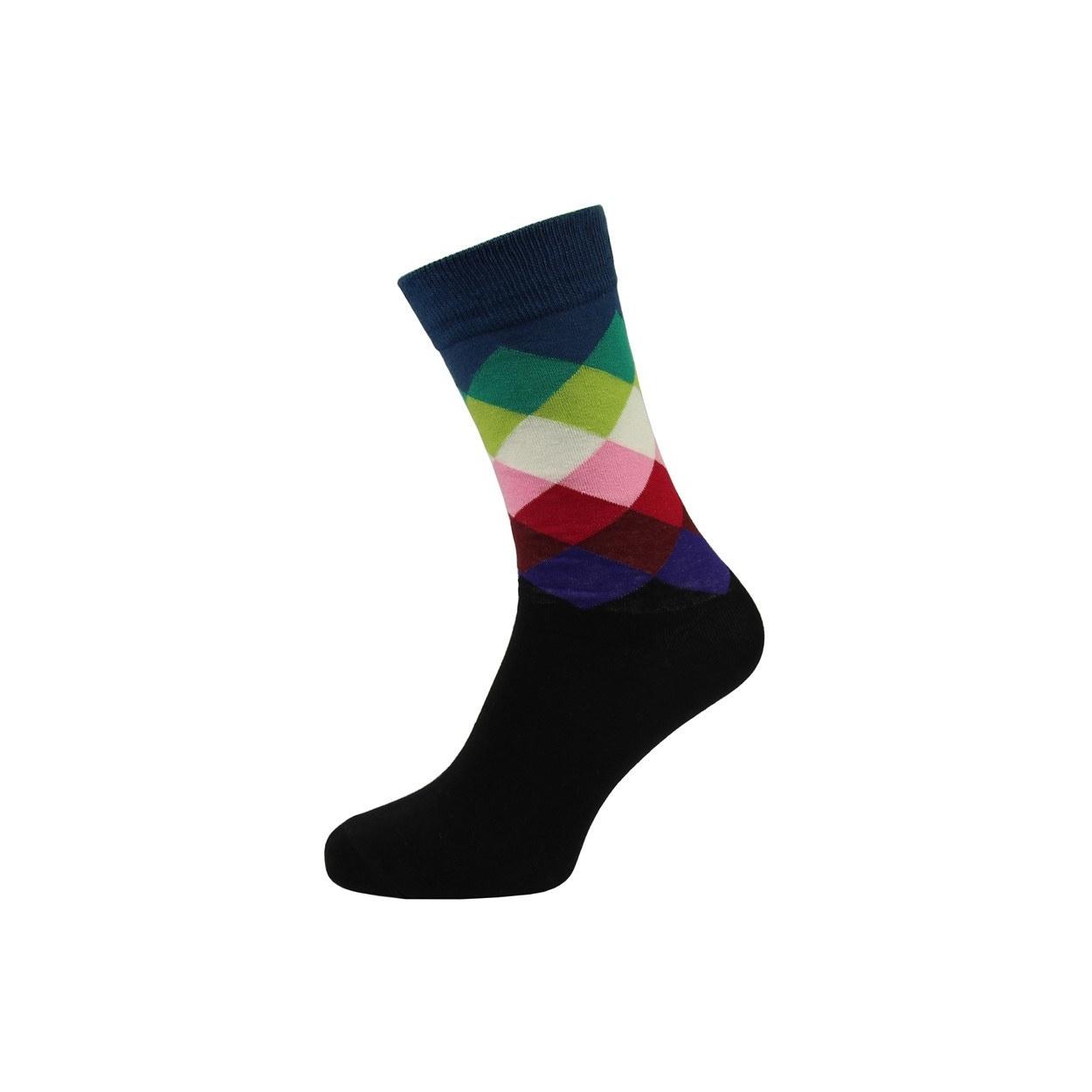 Černé pánské ponožky s barevným károváním