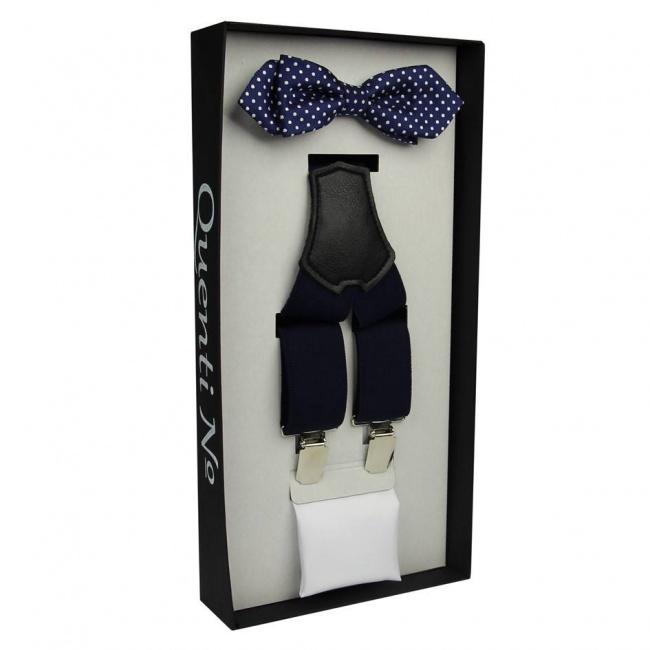 Tmavě modrý Luxusní pánský set Šle a motýlek s kapesníčkem