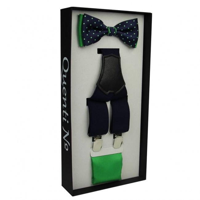Modro zelený Luxusní pánský set Šle a motýlek s kapesníčkem
