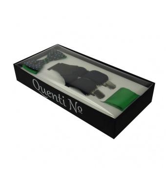 Modro zelený Luxusní pánský set Šle a motýlek s kapesníčkem v krabičce