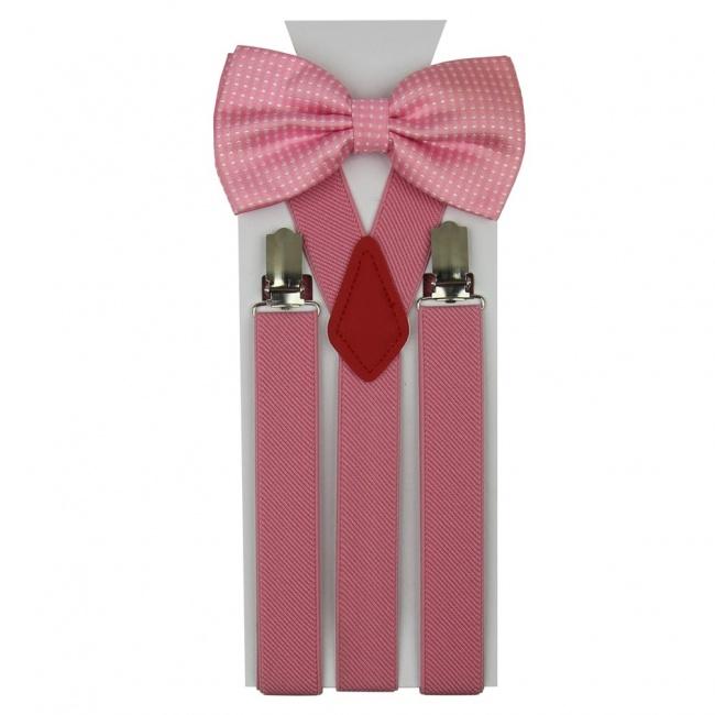 Růžový pánský set Šle a Motýlek s puntíky