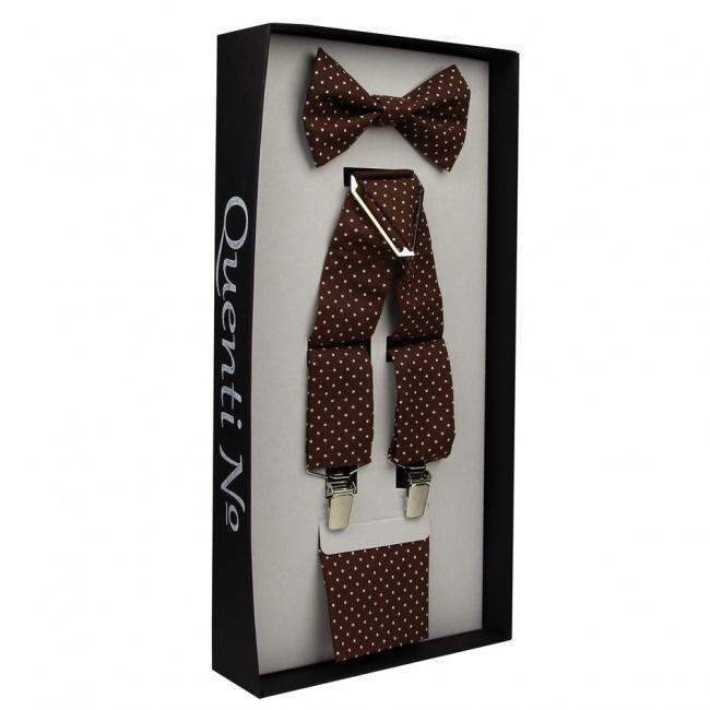 Hnědý Luxusní pánský set Šle a motýlek s kapesníčkem