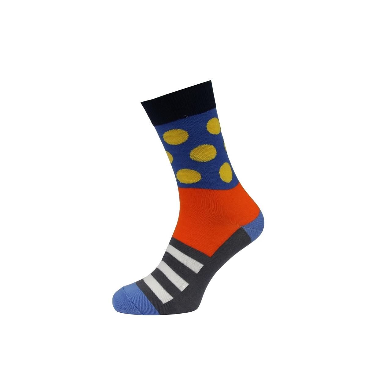 Modro oranžové pánské ponožky s puntíky