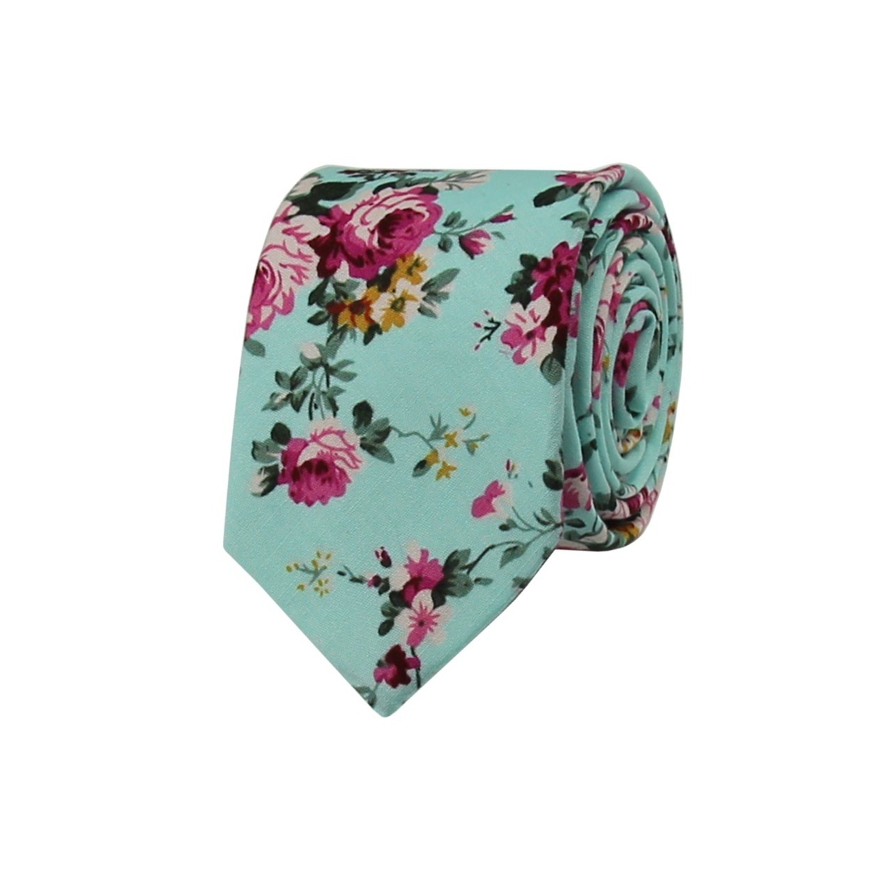 Tyrkysová květovaná pánská kravata