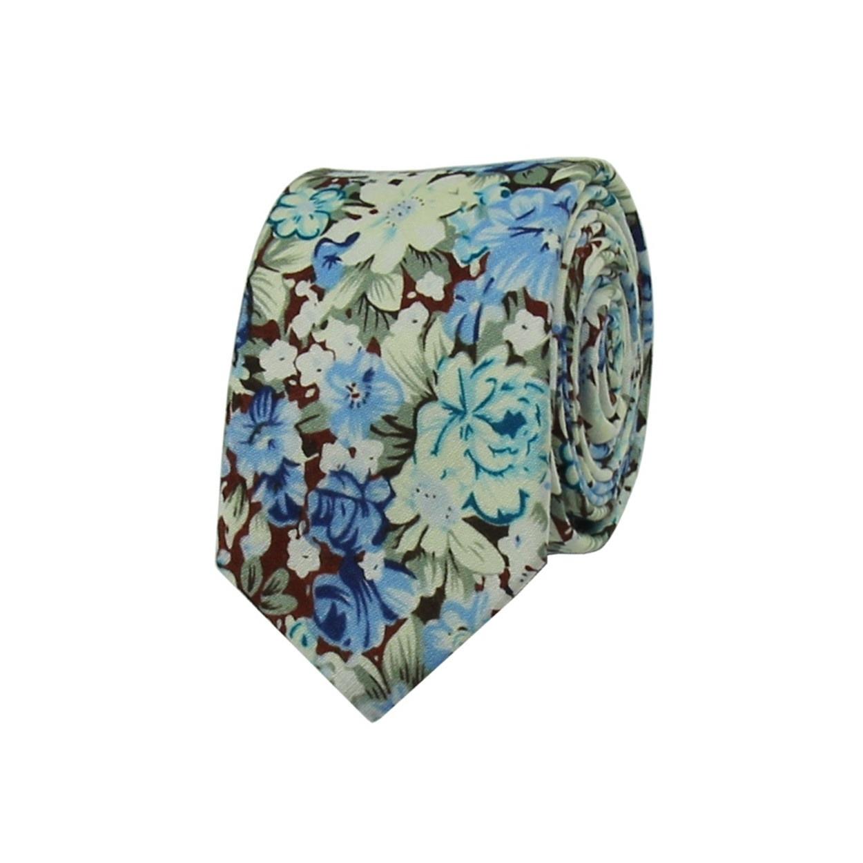 Modrá květovaná pánská kravata