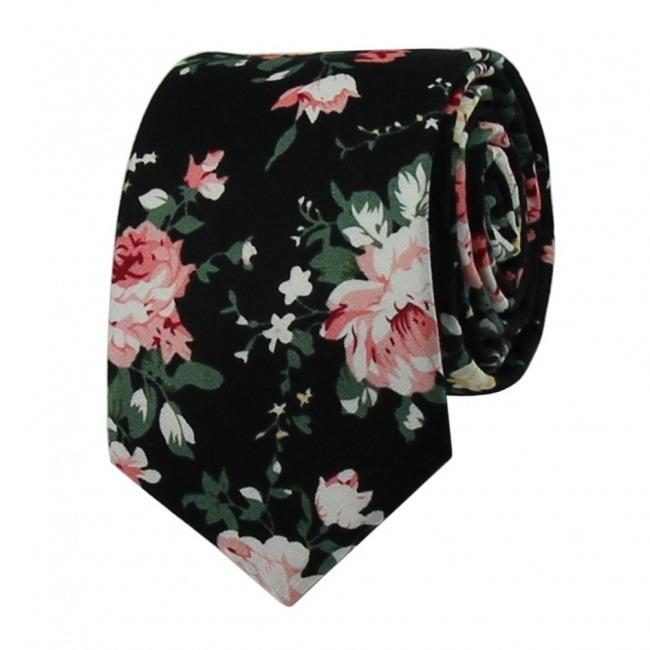 Černá květovaná pánská kravata