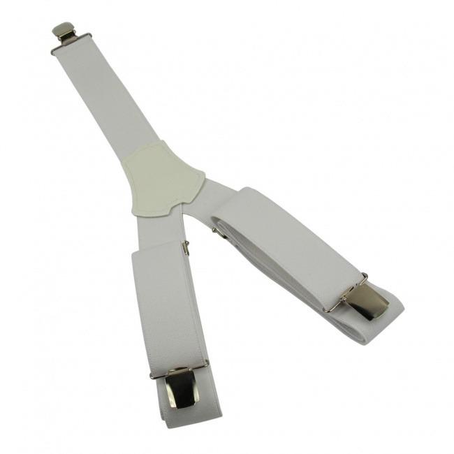 Bílé pánské široké šle - kšandy 120cm