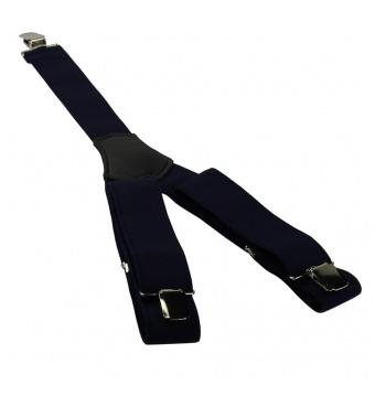 Tmavě modré pánské široké šle - kšandy 120cm