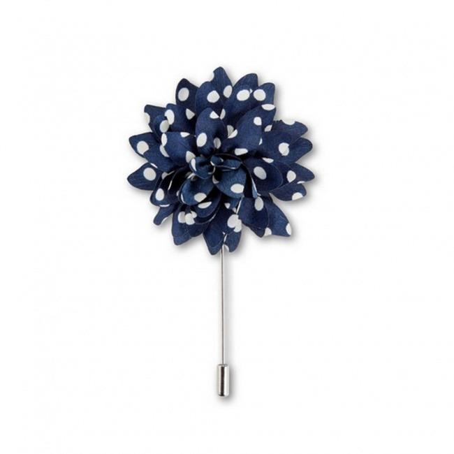Tmavě modrá květina s bílými puntíky do klopy