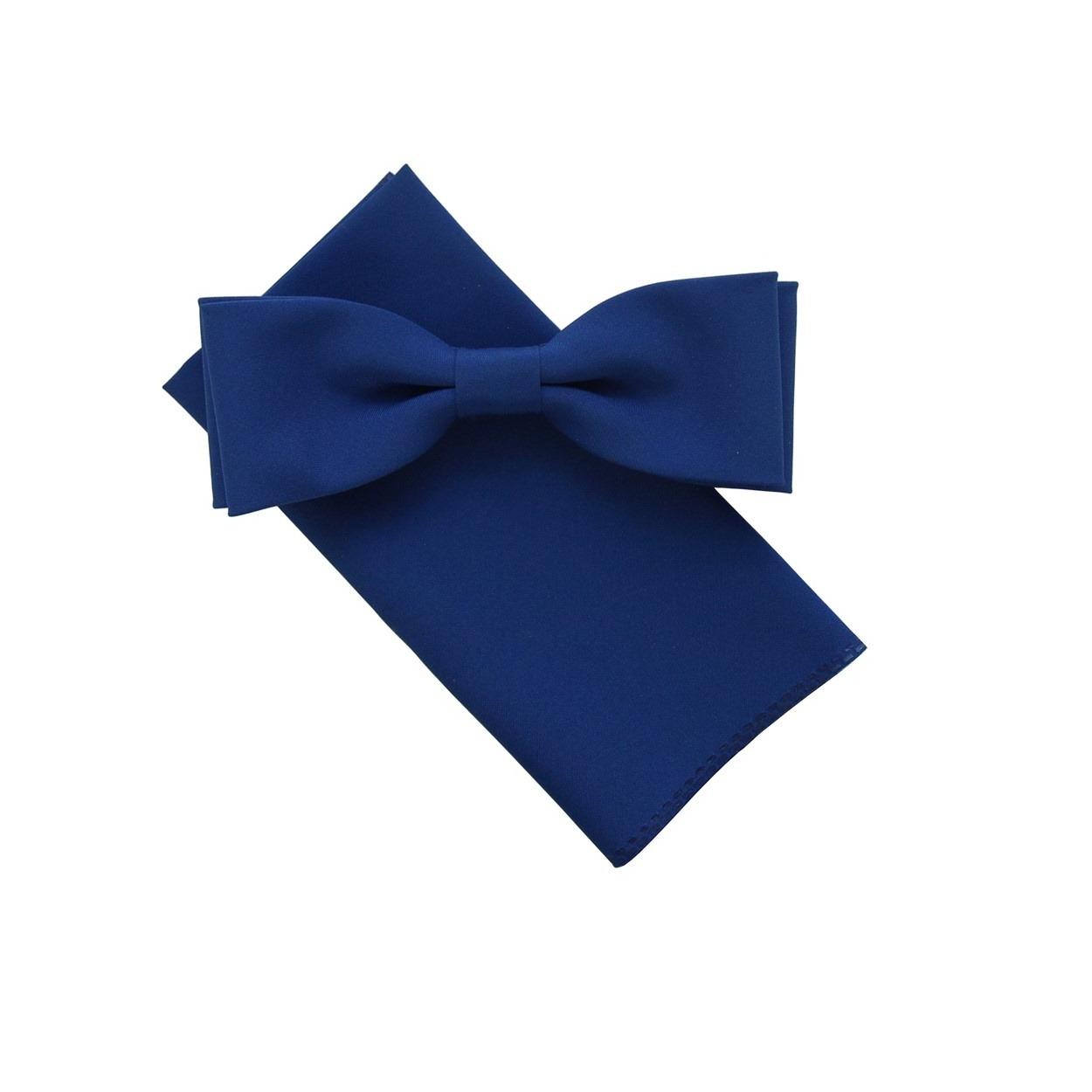 Modrý pánský motýlek s kapesníčkem matný