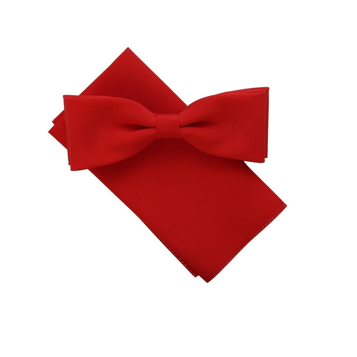 Červený pánský motýlek s kapesníčkem matný